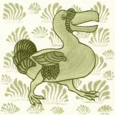 William De Morgan Grass Dodo Tile