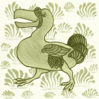 William De Morgan Grass Dodo Animal Tile