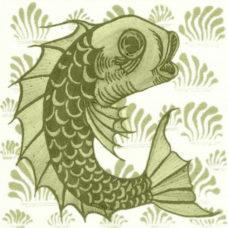 William De Morgan Grass Fish Tile (A/B) (ST035)