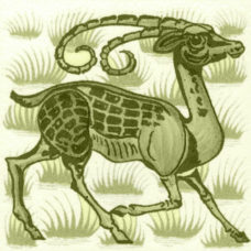 William De Morgan Grass Antelope Tile (A/B) (ST036)