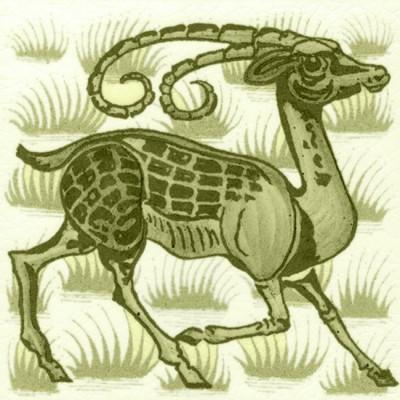 William De Morgan Grass Antelope Tile