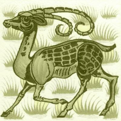 William De Morgan Grass Antelope Animal Tile