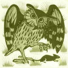 William De Morgan Grass Owl Tile (A/B) (ST038)