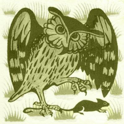 William De Morgan Grass Owl Tile