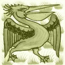 William De Morgan Grass Pelican Tile (A/B) (ST039)
