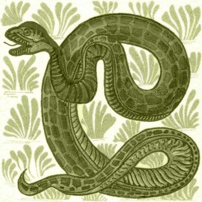 William De Morgan Animal Snake Tile Victorian Fireplace