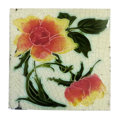 OT202 - Mid-Late Victorian Floral Fireplace Tiles
