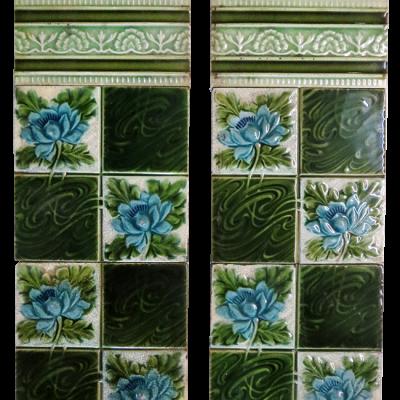 OT207 - Rich Floral Late Edwardian Fireplace Tiles