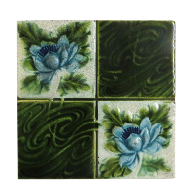 Rich Floral Late Edwardian Fireplace Tiles