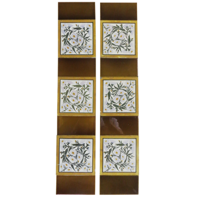 Soft Elegant Floral Fireplace Tiles
