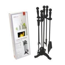 Turn Handle Companion Set in Black/Brass/Pewter