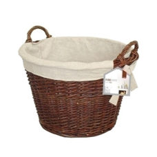 Round Wicker Basket with Jute Liner