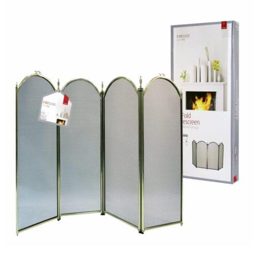 De Vielle 4 Fold Fire Screen (Black & Brass)