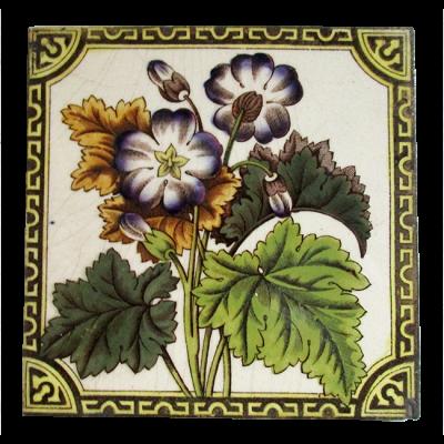 Antique Victorian Geranium Fireplace Tiles