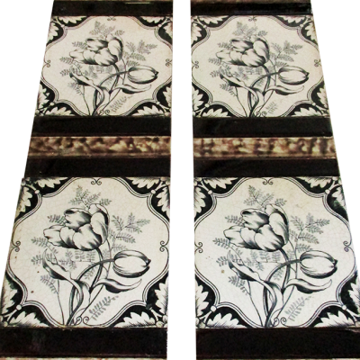 Antique Hand Painted Fireplace Tiles