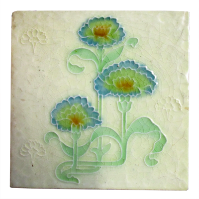 Art Nouveau Carnation Fireplace Tiles