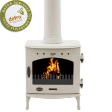 "Cream Enamel 4.7kW Carron Multi Fuel Stove (5"" Flue)"