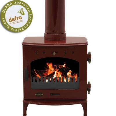 Freestanding Red Enamel Carron Multi-Fuel Stove