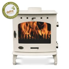 "Cream Enamel 7.3kW Carron Multi Fuel Stove (6"" Flue)"