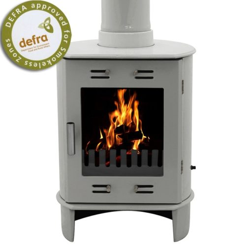 Ash Grey Enamel Carron Dante Multi-Fuel Stove