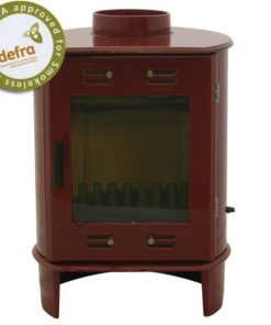 Red Enamel 5kW Carron Dante Multi Fuel Stove