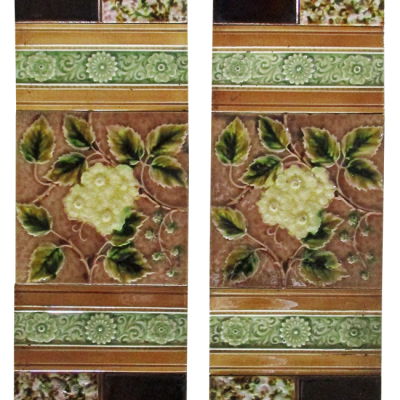 OT222 - Late Victorian Floral Fireplace Tiles