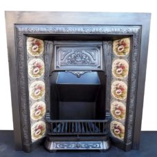 INS270 - Antique Victorian Cast Iron Insert Fireplace (38″H x 36″W)