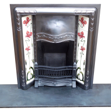 INS274 - Art Noveau Deco Cast Iron Insert Fireplace (36″H x 32″W)