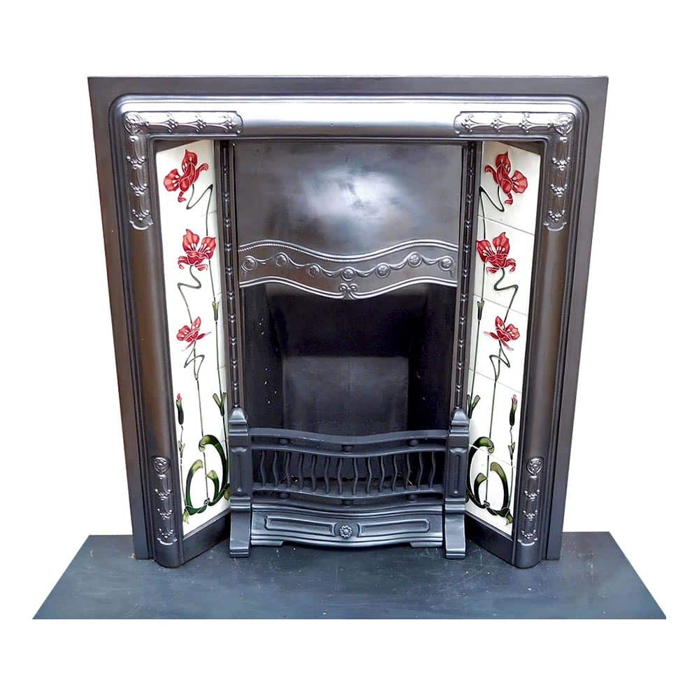 Art Deco Fire Basket Stovax : Art noveau deco cast iron insert fireplace victorian