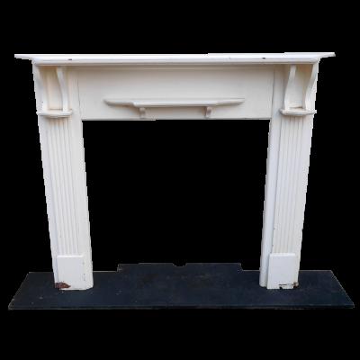 "TS069 - White Wooden Fireplace Surround (50""H x 54.25""W)"