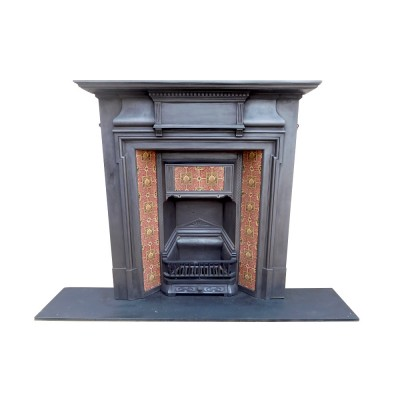 Combination Fireplace With Tiled Canopy