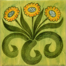 William Morris Green Daisy Fireplace Tile (ST056)
