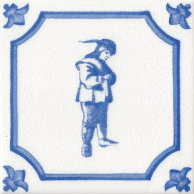 Contemplative Man Character Fireplace Tile