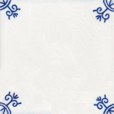 Corner Motif Tile - Blue & White Or Sepia (ST109)
