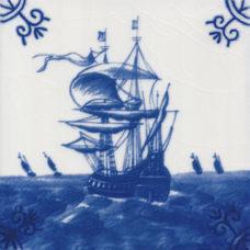 Dutch Delft Galleon Tile - Blue & White Or Sepia (ST111)