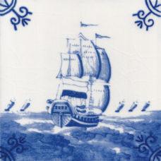 Dutch Delft Galleon Fleet Tile - Blue & White Or Sepia (ST112)