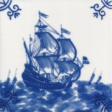 Dutch Delft Frigate Tile - Blue & White Or Sepia (ST113)