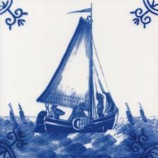 Dutch Delft Boat Tile - Blue & White Or Sepia (ST114)