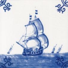 Dutch Delft Trading Ship Tile - Blue & White Or Sepia (ST115)