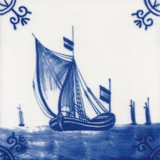 Dutch Delft Sailing Boat Tile - Blue & White Or Sepia (ST116)