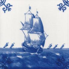 Dutch Delft Galleon Ship Tile - Blue & White Or Sepia (ST117)