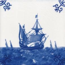 Dutch Delft Ship Tile - Blue & White Or Sepia (ST118)