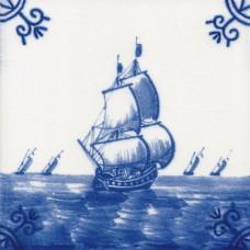 Dutch Delft Trading Ship Tile - Blue & White Or Sepia (ST119)