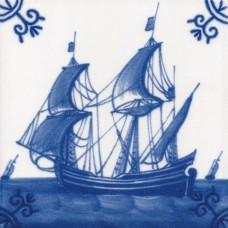 Dutch Delft Ship Side Tile - Blue & White Or Sepia (ST121)