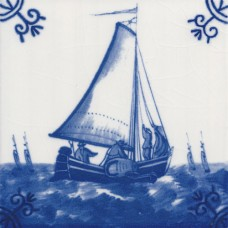 Dutch Delft Crewed Boat Tile - Blue & White Or Sepia (ST123)