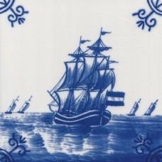 Dutch Delft Trade Ship Tile - Blue & White Or Sepia (ST127)