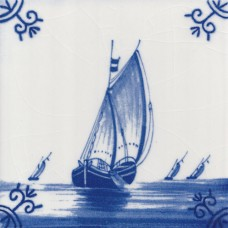 Dutch Delft Fishing Boat Tile - Blue & White Or Sepia (ST128)