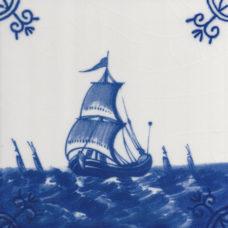 Dutch Delft Fishing Fleet Tile - Blue & White Or Sepia (ST129)