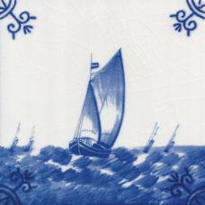 Dutch Delft Fishing Ship Fleet Tile - Blue & White Or Sepia (ST130)