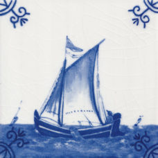 Dutch Delft Fishing Boat Tile - Blue & White Or Sepia (ST131)